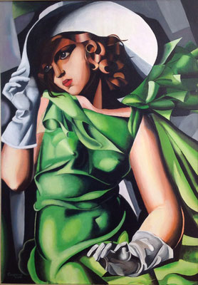 Young lady with gloves, naar Tamara de Lempicka, olieverf op linnen, 70x100 cm., verkocht