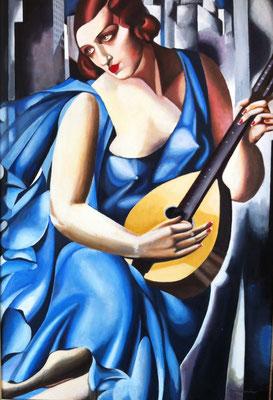 Musician, naar Tamara de Lempicka, olieverf op linnen,  60 x 90 cm., 1.150,00 euro, met lijst.