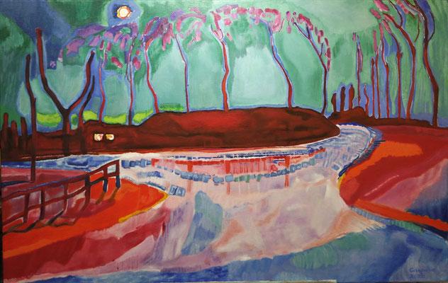 Maannacht IV, naar Jan Sluijters, olieverf op linnen, ingelijst, 70 x 110 cm., niet te koop