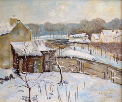 Sneeuweffect, naar Alfred Sisley, olieverf op linnen, 50x60 cm., 750,00 euro, met lijst.
