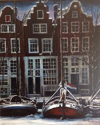 Grachtje in Amsterdam, olieverf op linnen, 40 x 50 cm, met lijst, 375,00 euro