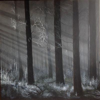 Winterzon, acryl op linnen, 100 x 100 cm., 975,00 euro