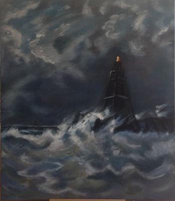 Vuurtoren in de branding, naar H.W.Mesdag, olieverf op linnen, 70 x 80 cm., 500,00 euro