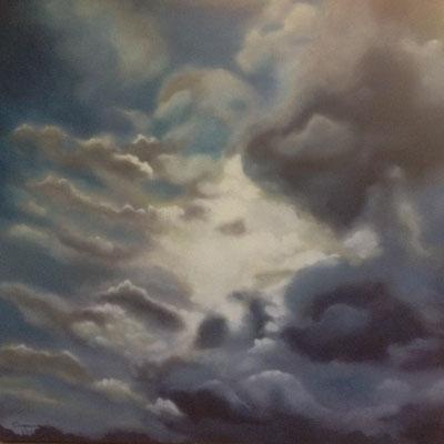 Wolkenlucht, olieverf op linnen, 100x100 cm., 650,00 euro