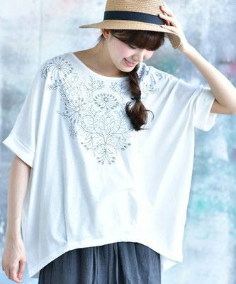 花モチーフ刺繍裾タックドルマンプルオーバー