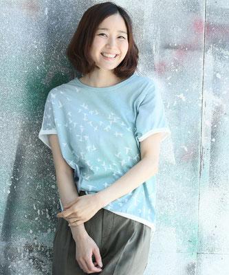 空鳥プリントドルマンTシャツ