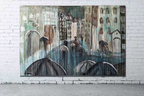 RAINY DAY IN COPENHAGEN | acrylic on canvas  |  180 x 120 cm | 580 CHF