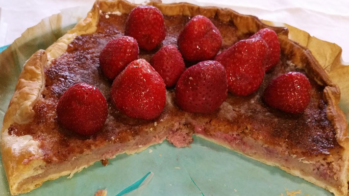 tarte aux fraises sur pâte croustillante
