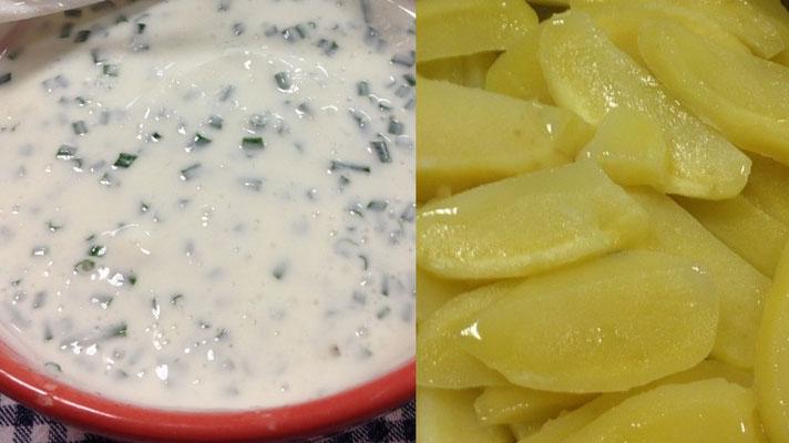 Pommes de terre au four, sauce au fromage blanc et fines herbes