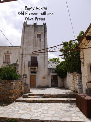 The old flower mill and olive press in Filoti Naxos Greece