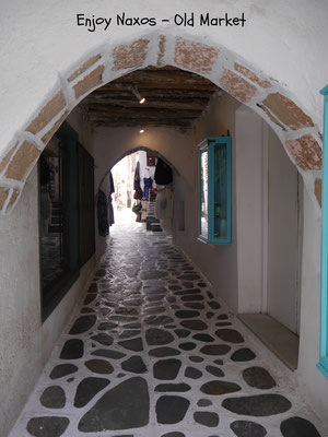 One of the many small streets in the old market of Naxos Chora