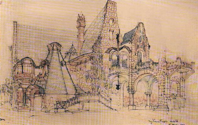 Дом Сов, 1917 г. эскиз Винсенто Фасоло