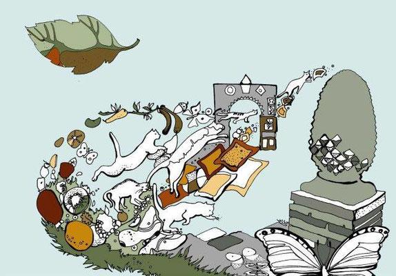 """""""Когда осенью падает первый лист, Он падает с оглушительным шумом, Потому что с ним Рушится целый год."""" (Quando, nell'autunno cade il primo foglio di lavoro, Si scende con un assordante rumore, Perché con lui, Crolla tutto l'anno.)"""