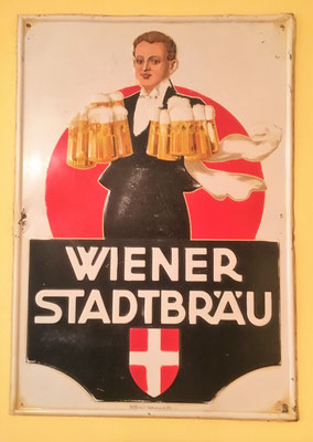 105 Wiener Stadtbräu, Blech, Abm. 73 cm x 51 cm, Impressum: Papier u. Blechdruck Industrie Wien XIX (5390), ca. 1910