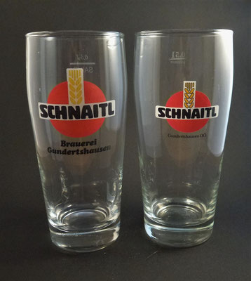 OE126, OE127  Brauerei Schnaitl, Eggelsberg, Bezirk Braunau, OÖ  (Glas von ca. 1980)