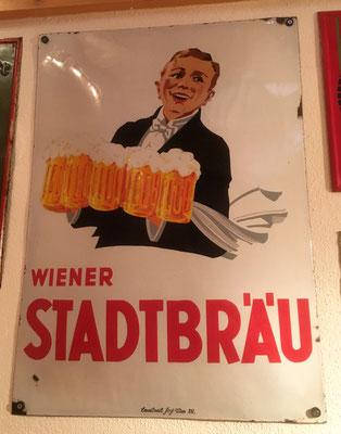 070 Wiener Stadtbräu, Email, Abm. 70 cm x 50 cm, Impressum: Emailierwerk Steg Wien XVI, ca. 1920
