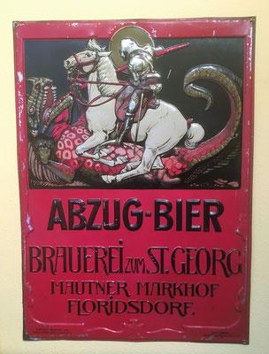 079 Brauerei zum St. Georg Abzug-Bier, Blech, Abm. 51,5 cm x  37,5 cm, Impressum: Lith. u. Druck v. Münster & Hajek Wien XIII, ca. 1907