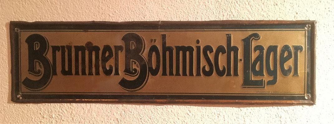 014 Brauerei Brunn am Gebirge, Blech, Abm. 12,5 cm x 46,5 cm, Impressum: Bruchsteiner & Sohn Wien I Concordiaplatz 5., ca. 1900