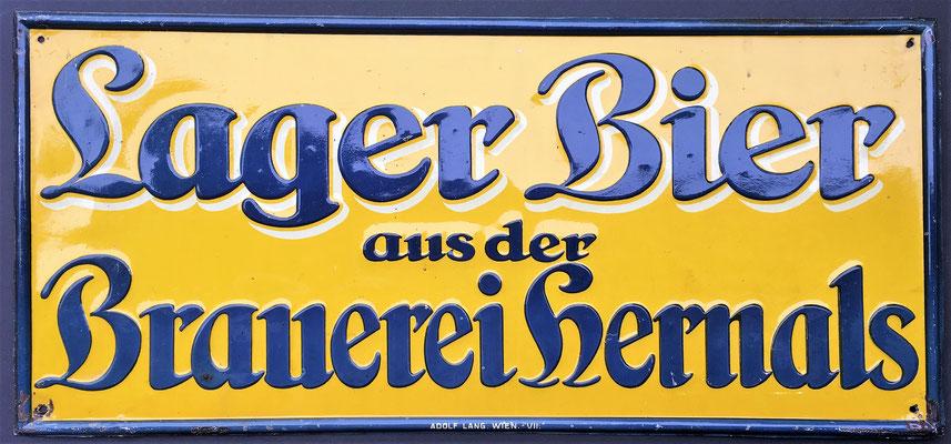 127 Brauerei Hernals,  Blech, Abm.  22,5 x 49 cm,  Impressum: Adolf Lang Wien VII, ca. 1900
