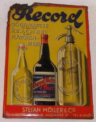 076 Stefan Müller Wien , Abfüller, Blech, Abm. 34,5 cm x 24,5 cm, Impressum: Papier u. Blechdruck Industrie Wien XIX, ca. 1910