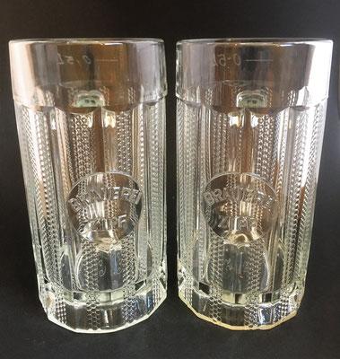 OE159, OE160, Brauerei Zipf, OÖ ( linkes Glas Repro - rechtes Glas um 1900) / siehe verschiedene Eichungen !
