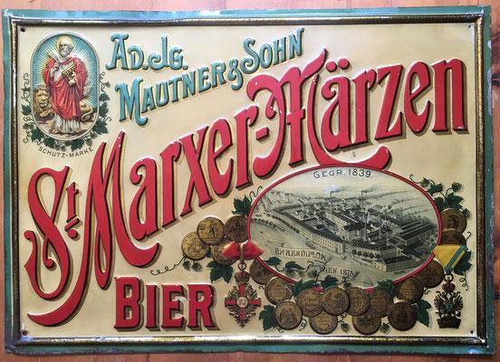 132 Brauerei St. Marx, Blech, Abm. 36 cm x 51 cm, Impressum: Blechplakaten-Fabrik Carl Zappe Gablonz a/N, ca. 1900