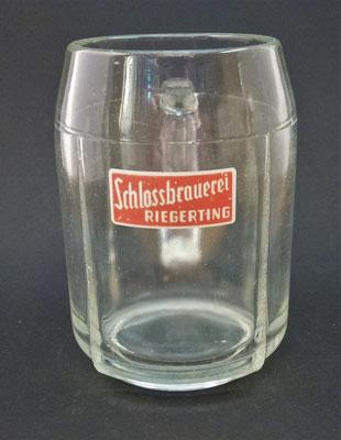OE115, Schlossbrauerei Riegerting, Mehrnbach, Bezirk Ried, OÖ, + 1985  (Glas von ca. 1950)