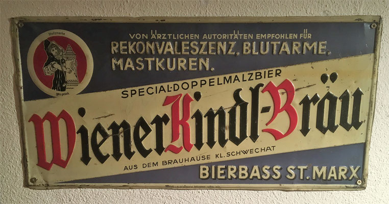 018 Bierbass St. Marx, Abfüller, Blech, Abm. 25 cm x 51 cm, Impressum: Papier u. Blechdruck Industrie Wien XIX, ca. 1900