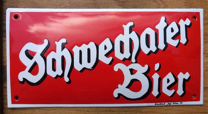 001 Schwechater Bier, Email, Abm. 15 cm x 30 cm, Impressum: Emailwerk Steg Wien XVI, ca. 1930