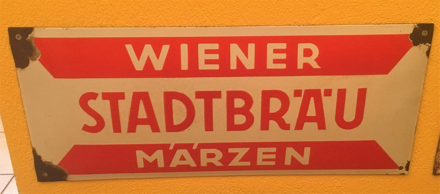 063 Wiener Stadtbräu, Email,  Abm. 21 cm x 49,5 cm, Impressum: Emailwerk Steg Wien XVI, ca. 1930