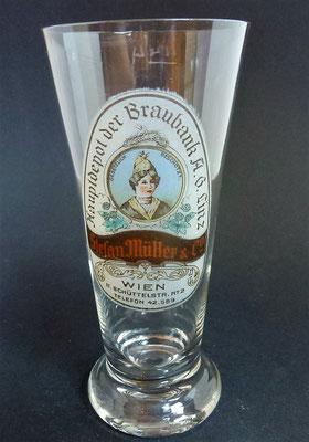 Biervertrieb Stefan Müller & Co, Wien 2  (Glas von ca. 1900)