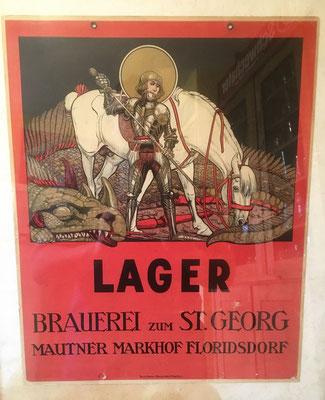 096 St. Georgs Brauerei Floridsdorf, Pappe, Abm. 32 cm x 40 cm, Impressum: Druck-Schreier & Braune Wien IV Aegidig. 4,  ca. 1907