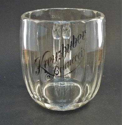 """OE057, Brauerei Kreuzhuber """"Zum Wald"""", Geretsberg, Bezirk Braunau, OÖ , + 1943  (Glas von ca. 1930)"""
