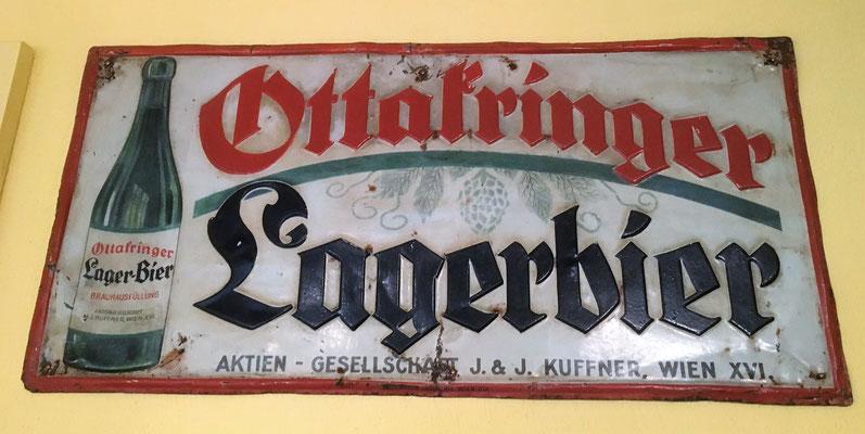 092 Brauerei Ottakring, Blech, Abm. 25 cm x 52 cm, Impressum: Papier u. Blechdruck Industrie Wien XIX, ca. 1910
