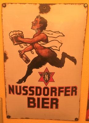 048 Brauerei Nussdorf, Email, Abm. 49,5 cm x 33 cm, Impressum:  Ferro-Email  - C. Robert Dold Generalvertretung Wien I, ca. 1920