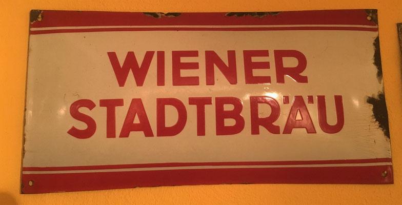 039 Wiener Stadtbräu, Email, Abm. 20 cm x 40 cm, kein Impressum, ca. 1940