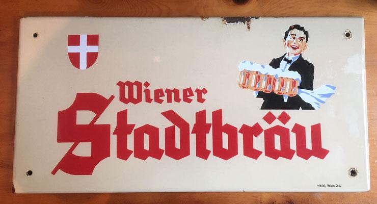 002 Wiener Stadtbräu, Email, Abm. 25 cm x 50 cm, Impressum: Hölzl, Wien XX, ca. 1950