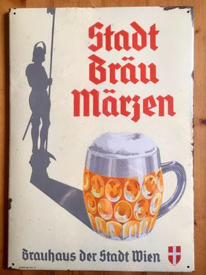 129 Wiener Stadtbräu, Email, Abm. ca. 68 cm x 48 xm, Impressum: Emailwerk Steg, Wien XVI, ca. 1930