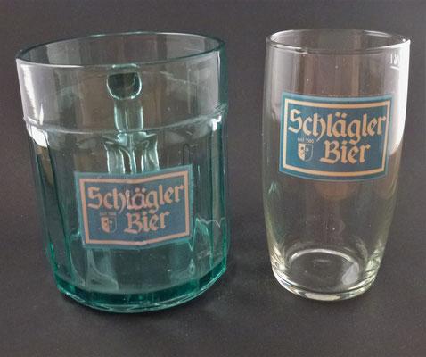 OE128, OE129,  Klosterbrauerei Schlägl, OÖ  (Glas von ca. 1950/60)