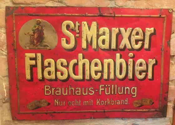 077 Brauerei St. Marx, Blech, Abm. 35,5 cm x 51 cm, Impressum: Münster & Hajek Wien XIII, ca. 1910