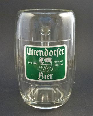 Privatbrauerei Vitzthum, Uttendorf, Bezirk Braunau, OÖ  (Glas von ca. 1950)