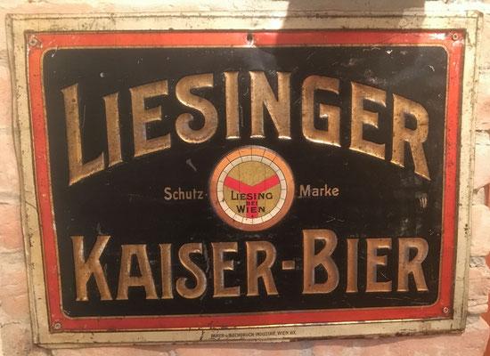 085 Brauerei Liesing, Blech, Abm. 37 cm x 51 cm, Impressum: Papier u. Blechdruck Industrie Wien XIX, ca. 1910