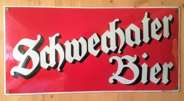 104 Brauerei Schwechat, Email, Abm. 25 cm x 50 cm, Impressum: Hölz, Wien XX, ca. 1950