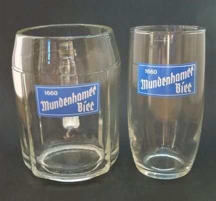 OE101, OE102, Brauerei Mundenham, Palting, Bezirk Braunau, OÖ, + 1982  (Glas von ca. 1960)