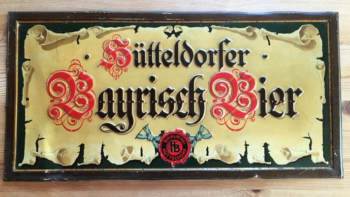 121 Brauerei Hütteldorf, Blech, Abm. ca. 25 cm x 50 cm, Impressum: Münster & Hajek Wien XIII, ca. 1900