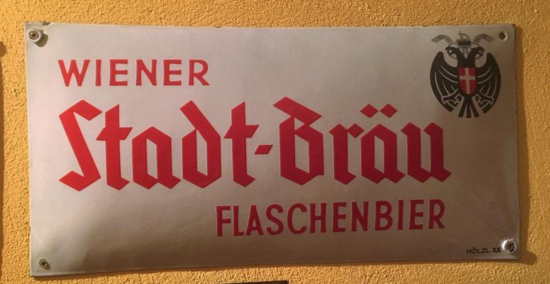 023 Wiener Stadtbräu, Email, Abm. 25 cm x 50 cm,  Impressum: Hölzl XX, ca. 1930