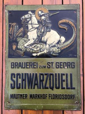 133 Brauerei zum St. Georg Schwarzquell, Blech, Abm. 51,5 cm x  37,5 cm, Impressum: Lith. u. Druck v. Münster & Hajek Wien XIII, ca. 1907