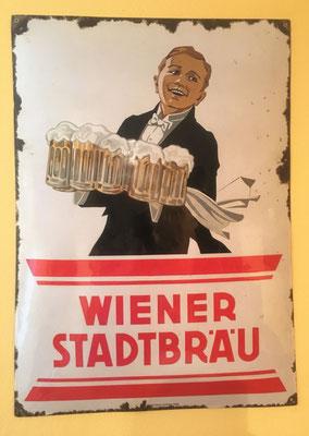 106 Wiener Stadtbräu, Email, Abm. 70cm x 50 cm, Emaillierwerke Austria Wien, ca. 1930