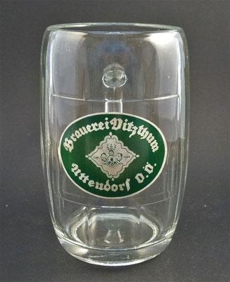Privatbrauerei Vitzthum, Uttendorf, Bezirk Braunau, OÖ  (Glas von ca. 1960/1970)