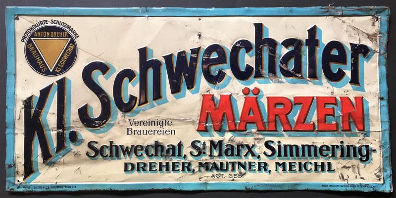 126 Brauerei Schwechat, Blech, Abm. 24,5 cm x 51 cm, Impressum: Papier u. Blechdruck Industrie Wien XIX, ca. 1913